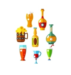 Set of flat beer icons bottles and glasses vector