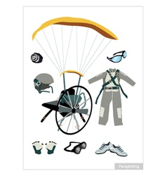 Set of Paraglider Equipment on White Background vector