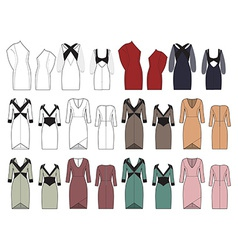 set of womens dresses vector image