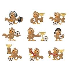 Set owl bird soccer Win in football championship vector