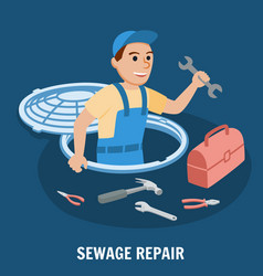 Sewage repair plumbing service vector