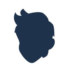 Silhouette head boy young avatar vector