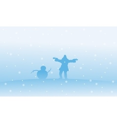 Silhouette of Santa and snowman Christmas vector image