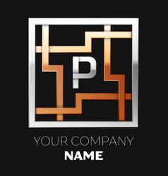 silver letter p logo in silver-golden square maze vector image