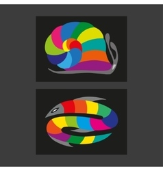 simple stylized fishes with rainbow leaves vector image