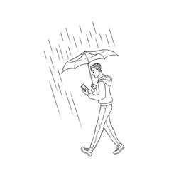 sketch man walking rain umbrella smartphone vector image