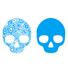 Skull composition of service tools vector