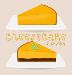 Slice cheesecake lies on white plate vector