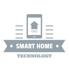 smart technology logo simple gray style vector image