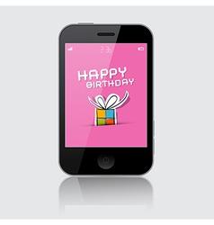 Smartphone with Happy Birthday Theme on Grey vector