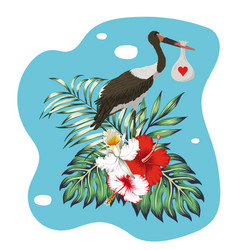 stork with bag child tropical print vector image