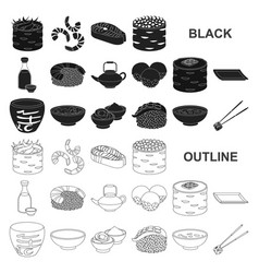 Sushi and seasoning black icons in set collection vector