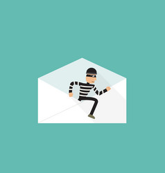 thief walk out from phishing mail vector image
