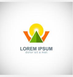 triangle sun shine company logo vector image