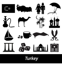 Turkey country theme symbols icons set eps10 vector