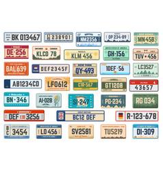 Vehicle registration plates car license plates vector