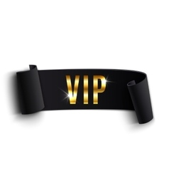 VIP black curved ribbon isolated on white vector