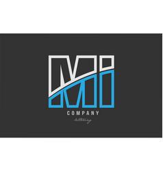 White blue alphabet letter mi m i logo icon design vector