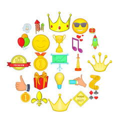 Winning icons set cartoon style vector
