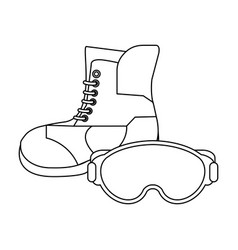 winter boot and glasses black and white vector image