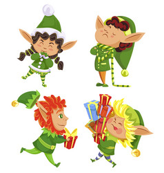 xmas elves with presents dwarfs with gifts set vector image