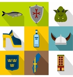 Country of Vikings icons set flat style vector image vector image