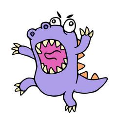 crazy purple cartoon dinosaur vector image vector image