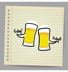 Doodle bubbles with beer vector image vector image