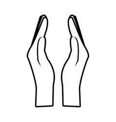 hands save money business symbol line vector image vector image