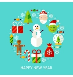 Happy New Year Flat Concept vector image
