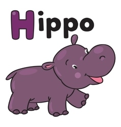 Little funny hippo for ABC Alphabet H vector image