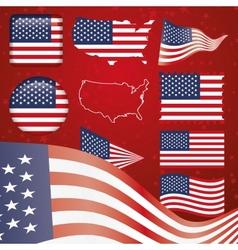 United States of America symbol set vector image