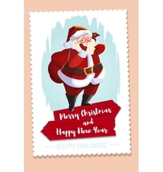Christmas greeting card with Santa Claus holding vector image vector image
