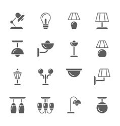 lamps black and white ison set vector image vector image