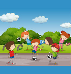 many kids playing football in the garden vector image