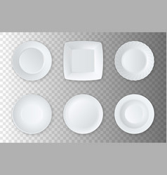 realistic white empty food plate dish and vector image