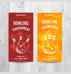 bowling party invitation card sport tournament vector image vector image