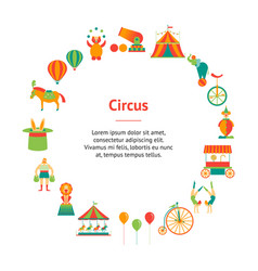 cartoon circus banner card circle vector image