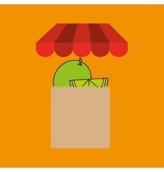 Lemon bag filled fruit offer design vector
