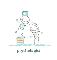 Psychologist is on a stack of books and gives the vector
