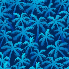 Tropical blue palm forest in a seamless pattern vector image