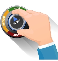 Trust knob button or switch High confidence level vector image vector image