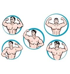 Cartoon bodybuilders show a muscles vector image