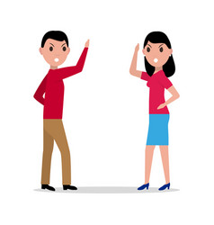 cartoon man woman quarrel couple angry vector image vector image