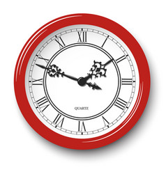 elegant roman numeral wall clock in red body vector image