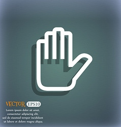 Hand print Stop icon symbol on the blue-green vector image
