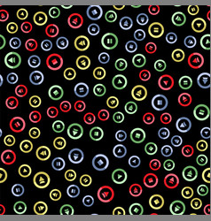 media player colorful button seamless pattern vector image
