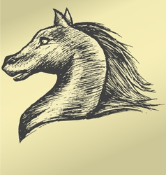 Painted by hand head horse running gallop vector image