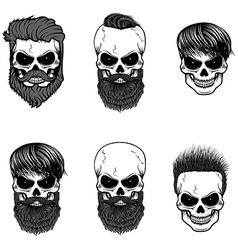 Set of bearded skulls skulls with beard and hair vector image vector image