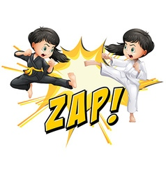 Two girls doing martial arts vector image vector image
